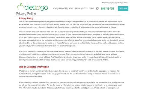 Diettogo® Privacy Policy