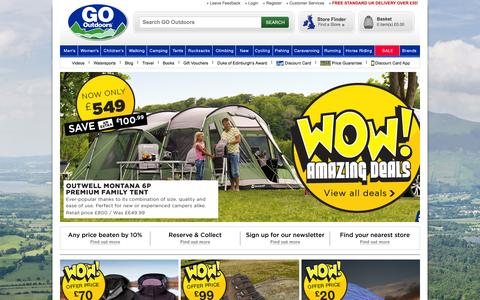Screenshot of Home Page gooutdoors.co.uk - GO Outdoors | Outdoor Clothing | Walking Boots | Winter Jackets - captured Sept. 16, 2014