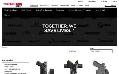Screenshot of Products Page safariland.com - Law Enforcement Gear | The SAFARILAND Group - captured April 12, 2017