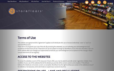 Screenshot of Terms Page storefloors.com - Terms of Use - Storefloors - captured Feb. 25, 2016
