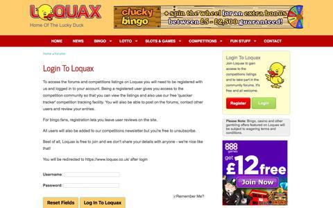 Screenshot of Login Page loquax.co.uk - Loquax Login - captured Sept. 9, 2017