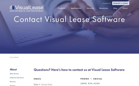 Screenshot of Contact Page visuallease.com - Visual Lease Software - captured Sept. 20, 2018