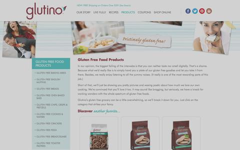 Screenshot of Products Page glutino.com - Gluten-Free Products - captured Oct. 6, 2017