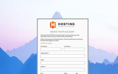 Screenshot of Signup Page hosting.com - Signup | HOSTING Customer Portal - captured Sept. 16, 2014