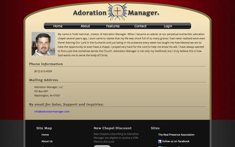 Screenshot of Contact Page adorationmanager.com - Adoration Manager Contact Us - captured Feb. 5, 2016