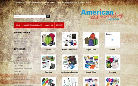 Screenshot of Products Page americanadv.net - Promotional Product Categories - captured Oct. 4, 2014