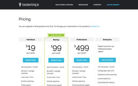 Screenshot of Pricing Page handwriting.io - API - Handwriting.io - captured April 5, 2016