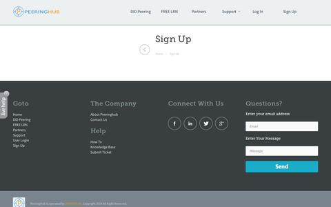 Screenshot of Signup Page peeringhub.com - Sign Up - captured Sept. 29, 2014