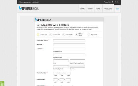 Screenshot of Signup Page binddesk.com - Bind Desk - Join - captured Sept. 30, 2014
