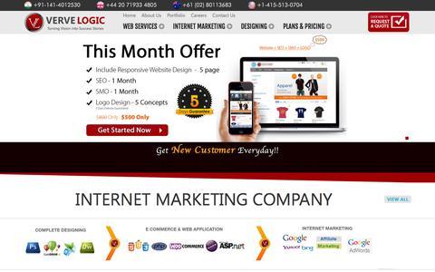 Screenshot of Home Page vervelogic.com - Web Design India and Internet marketing company India - captured Sept. 24, 2014