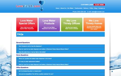 Screenshot of FAQ Page lovewater.com - FAQs - Love Water - captured Nov. 12, 2016