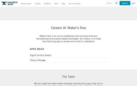 Screenshot of Jobs Page makersrow.com - Careers | Maker's Row - captured Sept. 16, 2019
