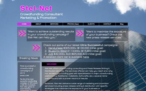 Screenshot of Home Page stel-net.com - Stel-Net   Crowdfunding Consultant   Promotion - captured Jan. 12, 2016