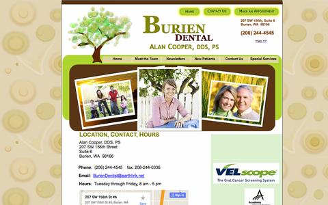 Screenshot of Contact Page Maps & Directions Page dralancooper.com - Alan Cooper, DDS - Map and Contact, Burien Wa - captured June 16, 2016