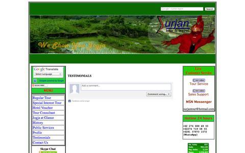 Screenshot of Testimonials Page surjantour.co.id - Surjan Tour Jogja - We Show You Jogja - Yogyakarta Tour Operator - captured Oct. 8, 2014