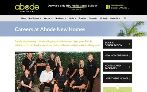 Screenshot of Jobs Page newabode.com.au - Abode New Homes Careers   Building Industry Jobs   Residential Builder Jobs - captured Oct. 2, 2018