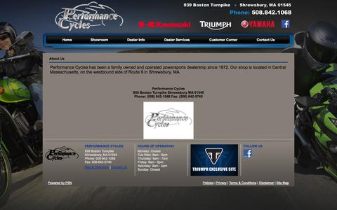 Screenshot of About Page performancecycles.com - Performance Cycles - captured Sept. 29, 2014