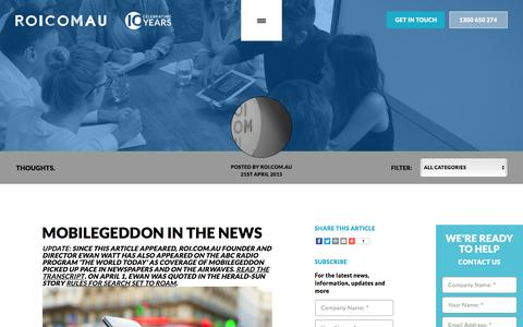 Screenshot of Press Page roi.com.au - Mobilegeddon In The News - - captured Nov. 8, 2016