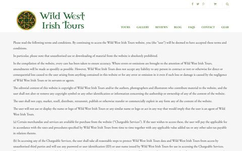 Screenshot of Terms Page wildwestirishtours.com - Terms & Conditions – Wild West Irish Tours - captured Dec. 3, 2016