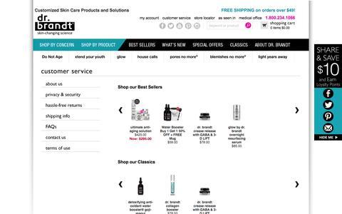 Screenshot of Support Page drbrandtskincare.com - Customer Service                       - Dr. Brandt Skincare - captured Sept. 24, 2014