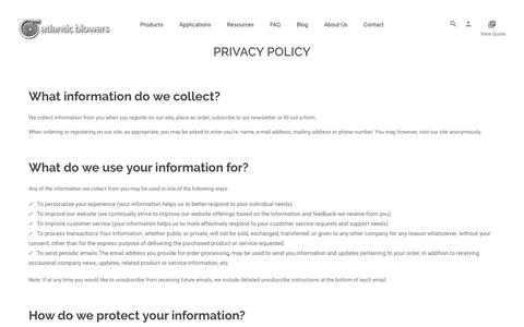 Screenshot of Privacy Page atlanticblowers.com - Atlantic Blowers | Privacy policy - captured Oct. 9, 2017
