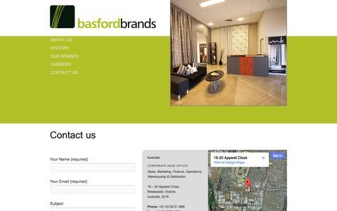 Screenshot of Contact Page basfordbrands.com - Contact us | Basford Brands - captured Sept. 30, 2014