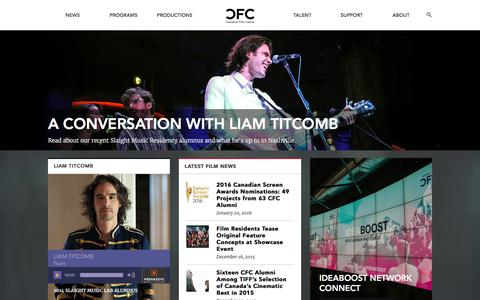 Screenshot of Home Page cfccreates.com - Canadian Film Centre | Homepage - captured Jan. 24, 2016