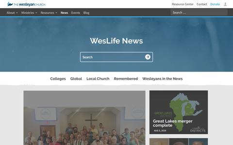 Screenshot of Press Page wesleyan.org - News - The Wesleyan Church - captured Aug. 6, 2019