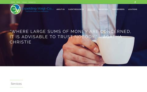Screenshot of Services Page evcpa.com - Services - Erpelding Voigt & Co LLP - captured Sept. 29, 2018
