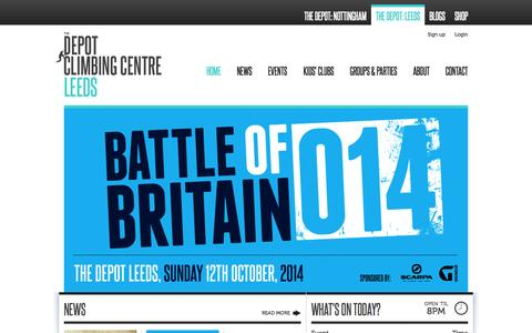 Screenshot of Home Page Signup Page theclimbingdepot.co.uk - The Climbing Depot - Indoor Climbing And Bouldering Centre - The Depot - captured Oct. 4, 2014