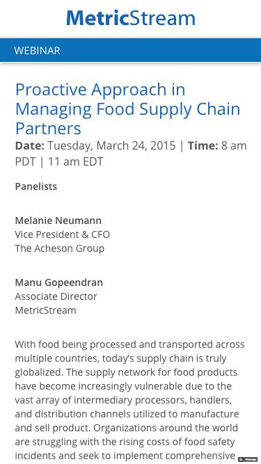 WEBINAR: Proactive Approach in Managing Food Supply Chain Partners