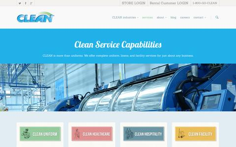 Screenshot of Services Page cleanuniform.com - Services | - captured Nov. 2, 2014