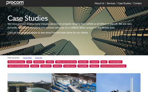 Screenshot of Case Studies Page procom-uk.com - Procom - Welcome to our world of innovation - captured Sept. 30, 2018