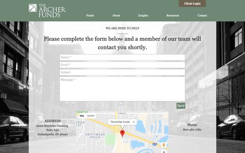 Screenshot of Contact Page thearcherfunds.com - Contact | The Archer Funds - captured Oct. 4, 2018