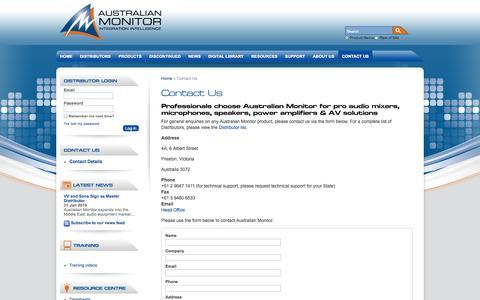 Screenshot of Contact Page australianmonitor.com.au - Pro Audio Visual Solutions - Contact Australian Monitor - captured Oct. 4, 2014