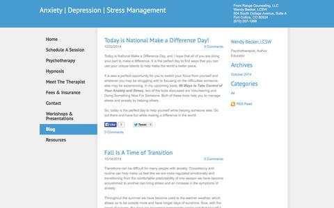 Screenshot of Blog hypnosisfortcollins.com - Anxiety Depression   Stress Management - Blog - captured Nov. 3, 2014