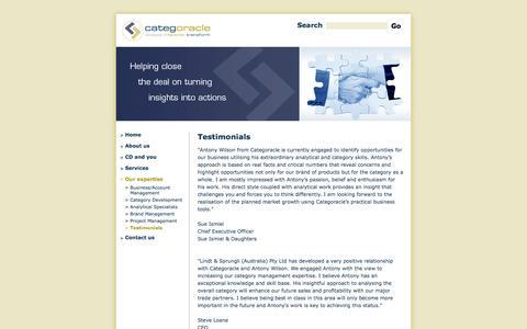 Screenshot of Testimonials Page categoracle.com.au - Testimonials - captured Oct. 2, 2014