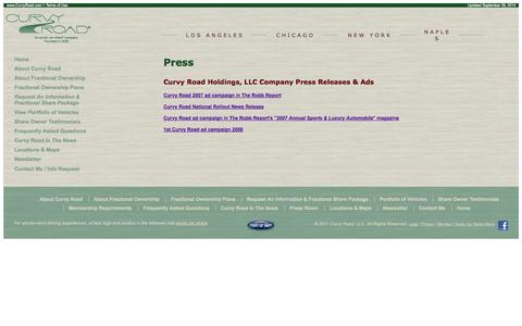 Screenshot of Press Page curvyroad.com - Curvy Road fractional ownership Information for the Press - captured Sept. 30, 2014