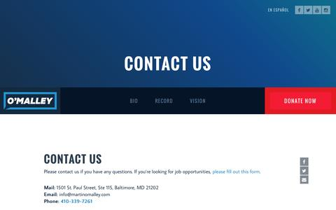 Screenshot of Contact Page martinomalley.com - Contact Us - Martin O'Malley for President - captured July 21, 2016
