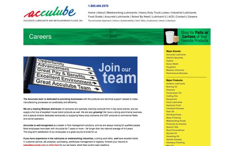 Screenshot of Jobs Page acculube.com - Careers - Acculube / Accurate Lubricants&Metalworking Fluids, Reduce Lubricant Costs - captured May 29, 2017