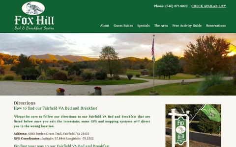 Screenshot of Maps & Directions Page foxhillbb.com - Fox Hill Bed and Breakfast Suites, a Fairfield VA Bed and Breakfast - captured July 1, 2018