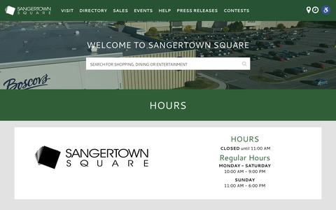 Screenshot of Hours Page sangertown.com - Hours - Sangertown Square - captured April 29, 2018