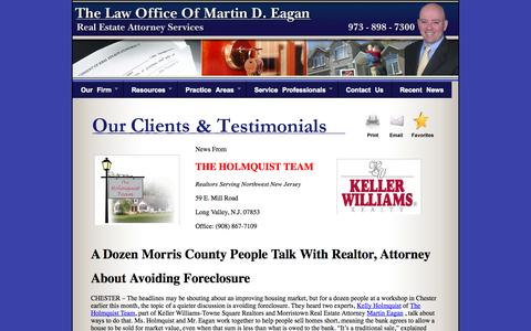 Screenshot of Testimonials Page martyeagan.com - Real Estate and Short Sales Attorneys in New Jersey - Morris County - captured Oct. 27, 2014