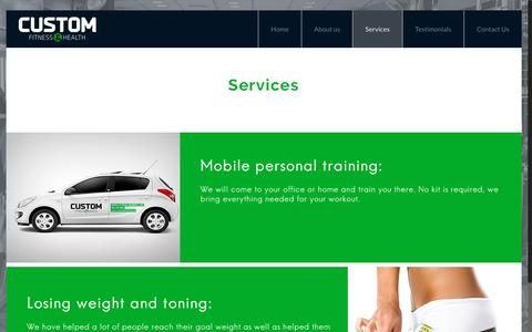 Screenshot of Services Page customfitness.co.za - Services – Custom Fitness - captured Nov. 14, 2016