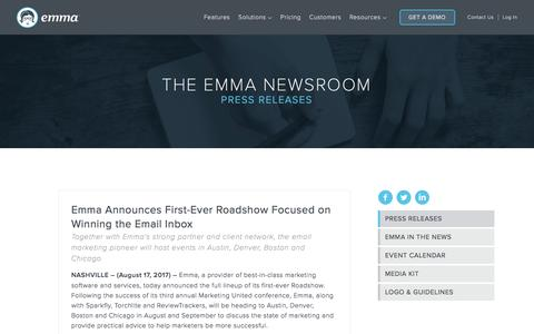 Screenshot of Press Page myemma.com - Emma Email Marketing Newsroom   Emma Email Marketing - captured Sept. 22, 2017