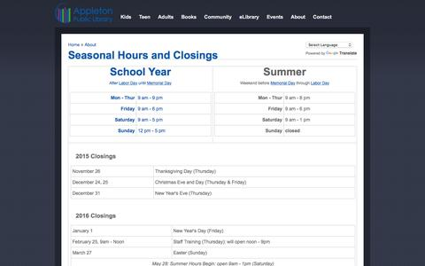 Screenshot of Hours Page apl.org - Seasonal Hours and Closings | Appleton Public Library, WI - captured Nov. 25, 2015