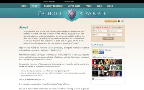 Screenshot of About Page catholicadvocate.com - Catholic Advocate | About - captured Sept. 29, 2014