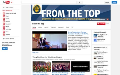 Screenshot of YouTube Page youtube.com - From the Top  - YouTube - captured Oct. 25, 2014