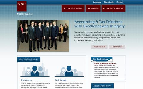 Screenshot of Home Page ndhcpa.com - Intacct Software, NetSuite Software in Chicago I NDH Group | Small Business Accounting, Start-Up Business Accounting, Tax, Accounting Technology Solutions, Cloud-based Accounting Implementations, Family Office Solutions - captured Oct. 6, 2014