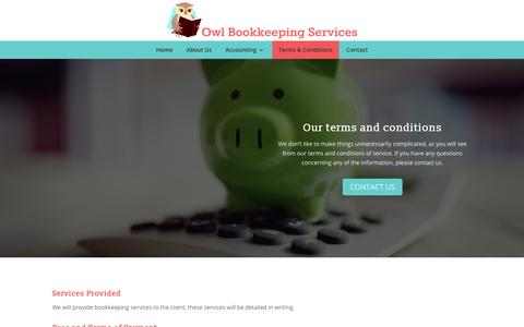 Screenshot of Terms Page owl-bookkeeping-services.co.uk - Terms & Conditions | Bookkeeping in Ipswich from Owl Bookkeeping Services - captured Oct. 20, 2018